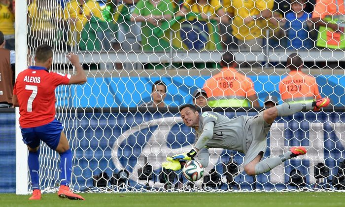Julio Cesar of Brazil saves the penalty shot of Alexis Sanchez of Chile in a shootout during the 2014 FIFA World Cup Brazil round of 16 match between Brazil and Chile at Estadio Mineirao on June 28, 2014 in Belo Horizonte, Brazil. (Buda Mendes/Getty Images)