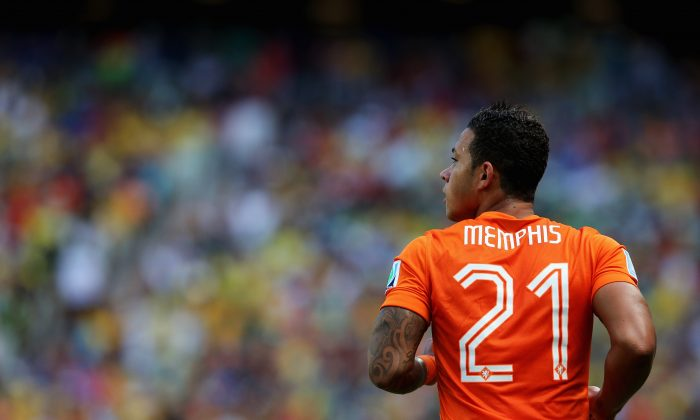 Memphis Depay of the Netherlands looks on during the 2014 FIFA World Cup Brazil Round of 16 match between Netherlands and Mexico at Castelao on June 29, 2014 in Fortaleza, Brazil. (Dean Mouhtaropoulos/Getty Images)