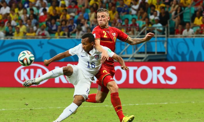 Julian Green of the United States scores his team's first goal in extra time against Toby Alderweireld of Belgium during the 2014 FIFA World Cup Brazil Round of 16 match between Belgium and the United States at Arena Fonte Nova on July 1, 2014 in Salvador, Brazil. (Photo by Kevin C. Cox/Getty Images)