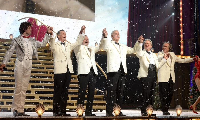 Michael Palin, Terry Gilliam, Eric Idle, John Cleese and Terry Jones bow to the crowd after their opening night of 'Monty Python Live (Mostly)' on July 1, 2014 in London, England. (Photo by Dave J Hogan/Getty Images)