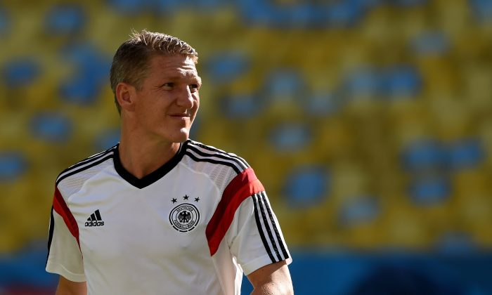 Germany's midfielder Bastian Schweinsteiger looks on during a training session at The Maracana Stadium in Rio de Janeiro on July 3, 2014, ahead of their match against France in the quarter-finals of the 2014 FIFA World Cup on July 4. (PATRIK STOLLARZ/AFP/Getty Images)