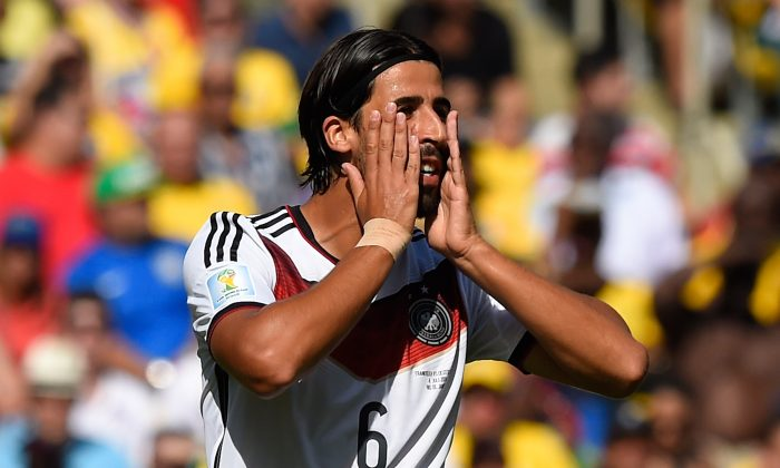 Germany's midfielder Sami Khedira reacts during the quarter-final football match between France and Germany at the Maracana Stadium in Rio de Janeiro during the 2014 FIFA World Cup on July 4, 2014. (FRANCK FIFE/AFP/Getty Images)