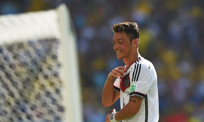 Germany's midfielder Mesut Ozil reacts during the quarter-final football match between France and Germany at the Maracana Stadium in Rio de Janeiro during the 2014 FIFA World Cup on July 4, 2014. (PEDRO UGARTE/AFP/Getty Images)