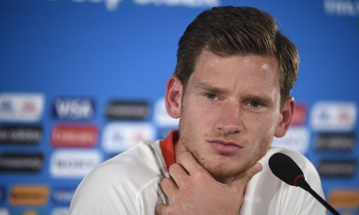 Belgium's defender Jan Vertonghen looks on during a press conference at Mane Garrincha National Stadium in Brasilila, on July 4, 2014, on the eve of a quarter-final football match between Argentina and Belgium during the 2014 FIFA World Cup. (MARTIN BUREAU/AFP/Getty Images)