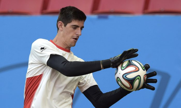 Belgium's goalkeeper Thibaut Courtois catches the ball during a training session at the Mane Garrincha National Stadium in Brasilila on July 4, 2014, on the eve of a quarter-final football match between Argentina and Belgium during the 2014 FIFA World Cup. (JUAN MABROMATA/AFP/Getty Images)