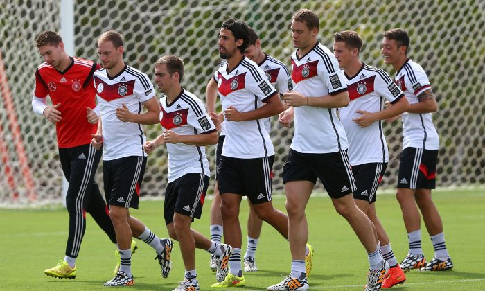Team members of Germny runs during the German national team training at Campo Bahia on July 5, 2014 in Santo Andre, Brazil. (Martin Rose/Getty Images)