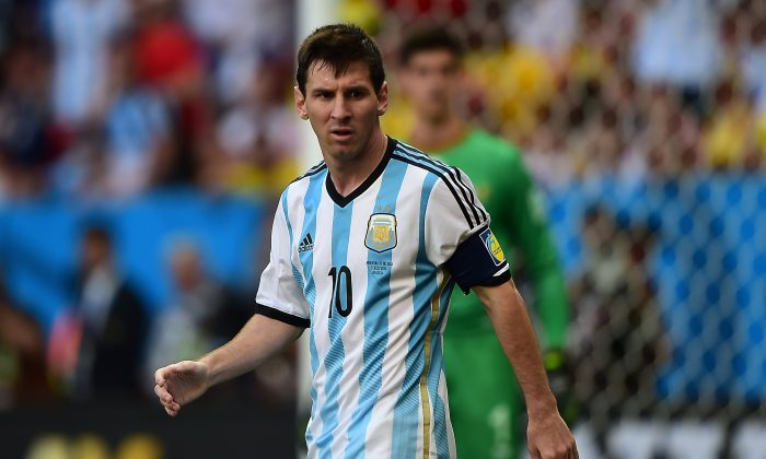 Argentina's forward Lionel Messi reacts during the second half of a quarter-final football match between Argentina and Belgium at the Mane Garrincha National Stadium in Brasilia during the 2014 FIFA World Cup on July 5, 2014. (FRANCOIS XAVIER MARIT/AFP/Getty Images)
