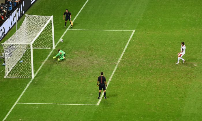 Tim Krul of the Netherlands saves a penalty kick by Bryan Ruiz of Costa Rica in a shootout during the 2014 FIFA World Cup Brazil Quarter Final match between the Netherlands and Costa Rica at Arena Fonte Nova on July 5, 2014 in Salvador, Brazil. (Laurence Griffiths/Getty Images)