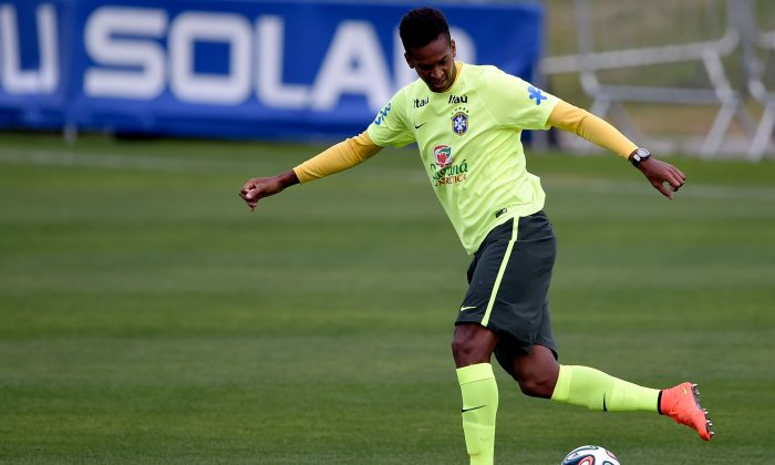 Brazil's striker Jo in action during a training session at Granja Comary on July 6, 2014 in Teresopolis, Brazil. (Buda Mendes/Getty Images)