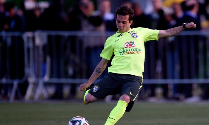 Brazil's striker Bernard in action during a training session at Granja Comary on July 6, 2014 in Teresopolis, Brazil. (Photo by Buda Mendes/Getty Images)
