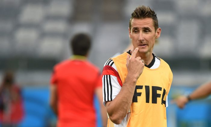 Germany's forward Miroslav Klose attends a training session at The Mineirao Stadium in Belo Horizonte on July 7, 2014 on the eve of their 2014 FIFA World Cup semi-final against Brazil. (PATRIK STOLLARZ/AFP/Getty Images)