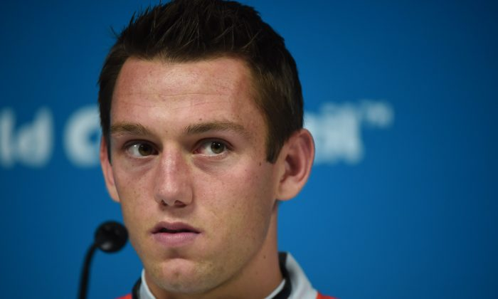 Netherlands' defender Stefan de Vrij gives a press conference at the Arena de Sao Paulo Stadium, in Sao Paulo on July 08, on the eve of the 2014 FIFA World Cup semi-final against Argentina. (DAMIEN MEYER/AFP/Getty Images)