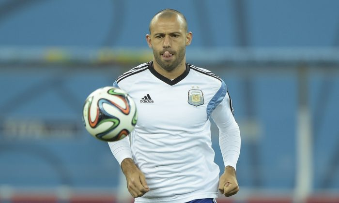 Argentina's midfielder Javier Mascherano takes part in a training session at the Arena de Sao Paulo Stadium, on July 08, on the eve of the 2014 FIFA World Cup semi-final against Netherlands. (JUAN MABROMATA/AFP/Getty Images)