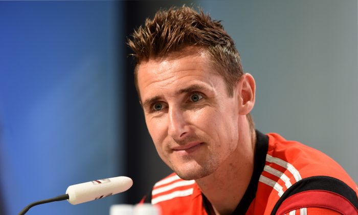 Germany's forward Miroslav Klose answers questions during a press conference in Santo Andre on July 10, 2014, during the 2014 FIFA Football World Cup. Germany will face Argentina in the final of the tournament on July 13, at The Maracana Stadium in Rio de Janeiro. (PATRIK STOLLARZ/AFP/Getty Images)
