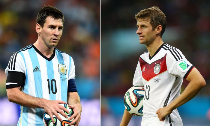 Lionel Messi (L) of Argentina and Thomas Mueller (R) of Germany.(Jamie Squire/Getty Images)