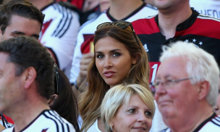 Ann-Kathrin Brommel, girlfriend of Mario Gotze of Germany, looks on prior to the 2014 FIFA World Cup Brazil Final match between Germany and Argentina at Maracana on July 13, 2014 in Rio de Janeiro, Brazil. (Photo by Martin Rose/Getty Images)