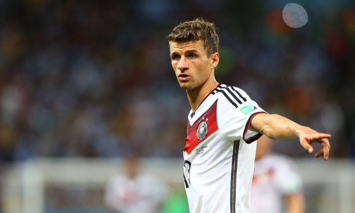 Thomas Mueller of Germany gestures during the 2014 FIFA World Cup Brazil Final match between Germany and Argentina at Maracana on July 13, 2014 in Rio de Janeiro, Brazil. (Photo by Martin Rose/Getty Images)