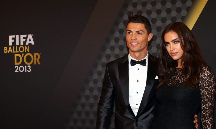 FIFA Ballon d'Or nominee Cristiano Ronaldo of Portugal and Real Madrid and Irina Shayk arrive during the FIFA Ballon d'Or Gala 2013 at the Kongresshalle on January 13, 2014 in Zurich, Switzerland. (Photo by Martin Rose/Bongarts/Getty Images)