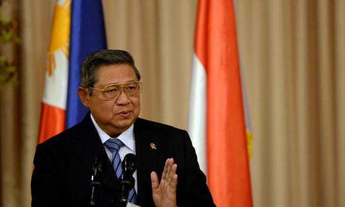Indonesian President Susilo Bambang Yudhoyono gives his remarks during a joint press statement with Philippine President Benigno Aquino (not pictured) at Malacanang Palace in Manila on May 23, 2014. The Philippine and Indonesian leaders oversaw the signing of a maritime border accord they hailed as a model for peacefully settling the increasingly-tense border disputes in the South China Sea. (Noel Celis/AFP/Getty Images)