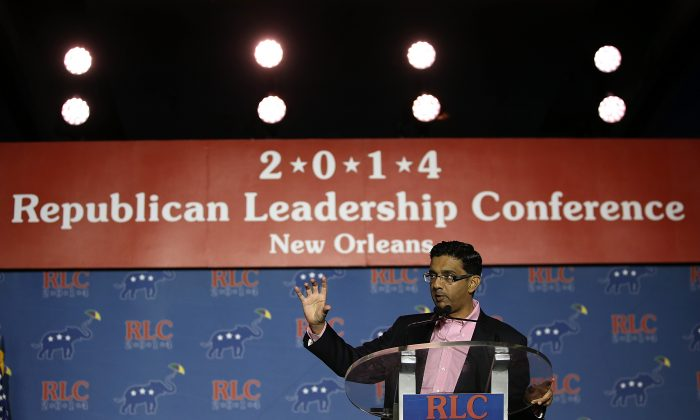 Conservative filmmaker and author Dinesh D'Souza speaks during the final day of the 2014 Republican Leadership Conference on May 31, 2014 in New Orleans, Louisiana. Some of the biggest names in the Republican Party made appearances at the conference, which hosts 1,500 delegates from across the country through May 31. (Photo by Justin Sullivan/Getty Images)