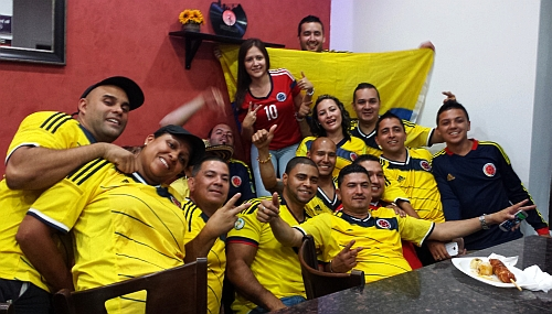 The Arepa Lady crew, in full regalia to support Colombia's soccer team. (Courtesy of The Arepa Lady)