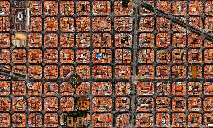 Barcelona, Spain. (Overviews created with Apple Maps, satellite imagery courtesy of Digital Globe)