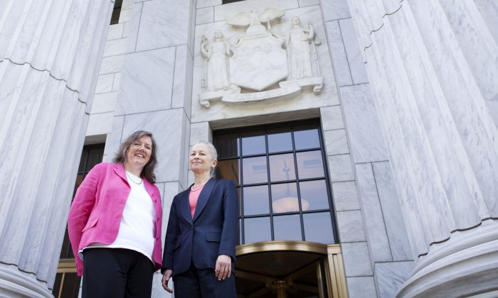 Helen Slottje and Deborah Goldberg stand on the steps of the Court of Appeals, shortly before oral arguments, in Albany, on June 3. (Courtesy of Chris Jordan-Bloch/Earthjustice)