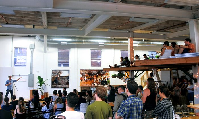 Brooklyn Winery co-founder Brian Leventhal at a meetup on hacking the food system at Farmigo's Gowanus office, July 10, 2014. (Courtesy of Farmigo)