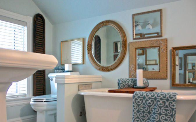 Bathroom Mirror Art via A Button Tufted Life on Hometalk