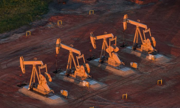Pumpjacks at oil wells near Watford City, N.D., in the early morning hours of July 30, 2013. (Andrew Burton/Getty Images)