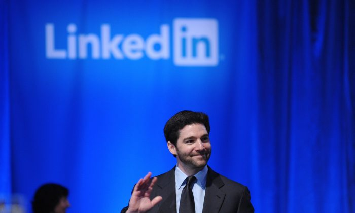 LinkedIn CEO Jeff Weiner hosts a town hall meeting in Mountain View, Calif., on Sept. 26, 2011. (Mandel Ngan/AFP/Getty Images)