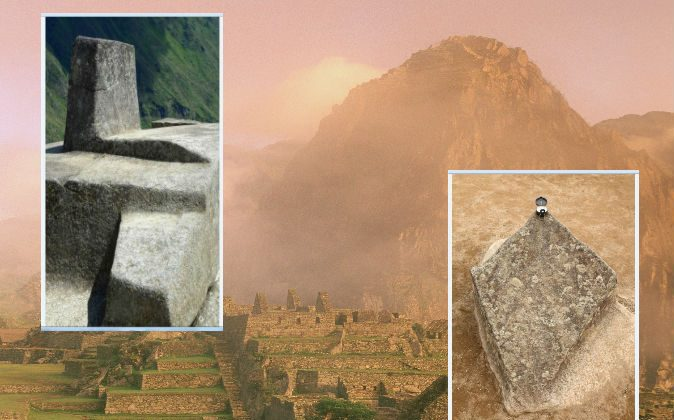 "Background: The Incan ruins of Machu Picchu in Peru. Left: The Intihuatana stone at Machu Picchu, the name of which means ""Hitching post of the sun,"" is a precise indicator of the equinoxes and other celestial periods, according to Florida International University. Right: A stone at Machu Picchu that points south and is said to represent the Southern Cross constellation. (All images via Thinkstock)"