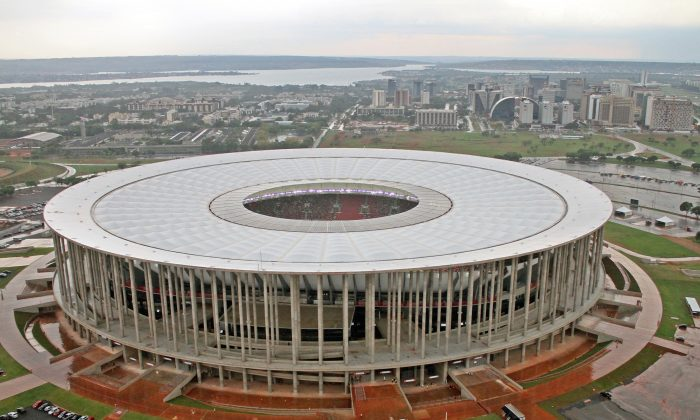 An aerial view of the Mane Garrincha Stadium in Brasilia. The stadium sits among many sports structures that are crumbling due to neglect. (Courtesy of FIFA)