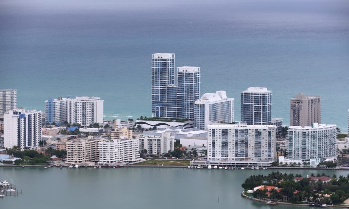 Condo buildings on oceanfront property in the city of Miami Beach on June 3, 2014. According to numerous scientists, south Florida could be flooded by the end of the century as global warming continues to melt the Arctic ice, in turn causing oceans to rise. (Joe Raedle/Getty Images)