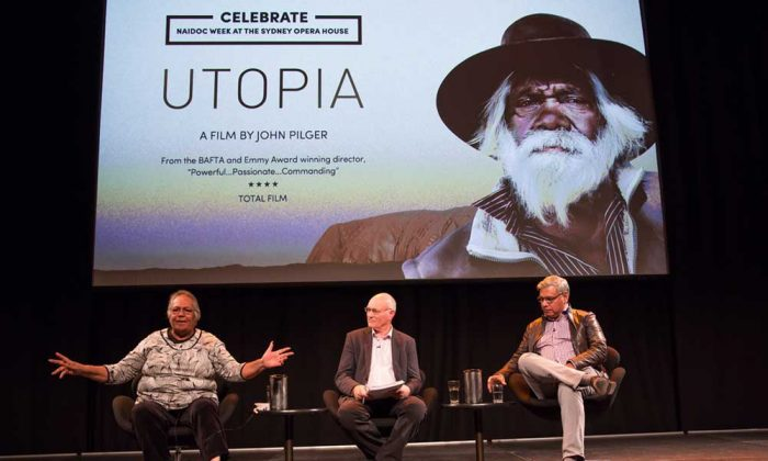 Aboriginal actor and Elder Rosalie Kunoth-Monks, ABC journalist Matt Peacock and the Prime Minister's Chief Advisor on Indigenous affairs Warren Mundine discuss John Pilger's latest film, Utopia, after its screening on July 5 2014 at the Sydney Opera House. (Sydney Opera House)