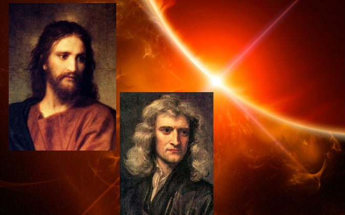A depiction of Jesus (L) painted by Heinrich Hofmann, and a portrait of Sir Isaac Newton (R), painted by Godfrey Kneller in 1689. (Background concept image via Thinkstock)