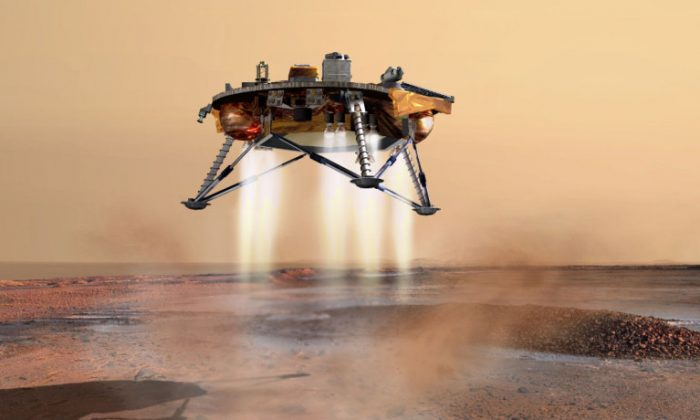 Wet beads seen on the legs of the Phoenix spacecraft offered the first evidence of salts on Mars. Scientists now believe the beads were muddy saltwater that splashed on the lander's leg as it touched down in the northern polar region. (NASA/JPL-Calech/University of Arizona)