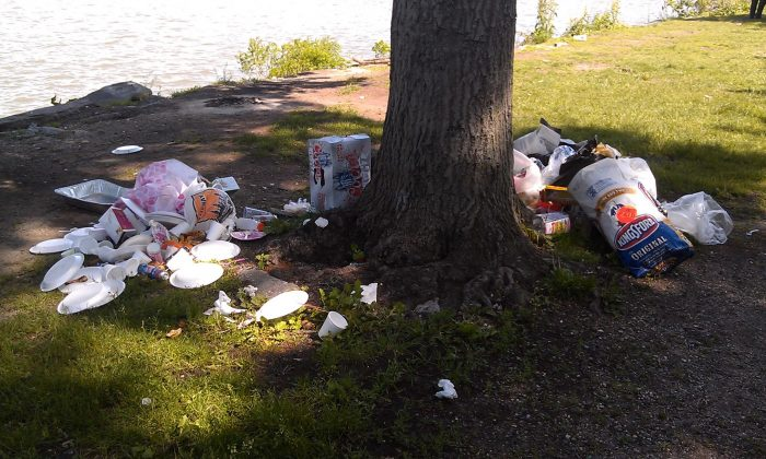 Trash left over from picnics, cover the ground at Riverside Park, in New York City, June 2014. (Courtesy of Riverside Park Alliance)