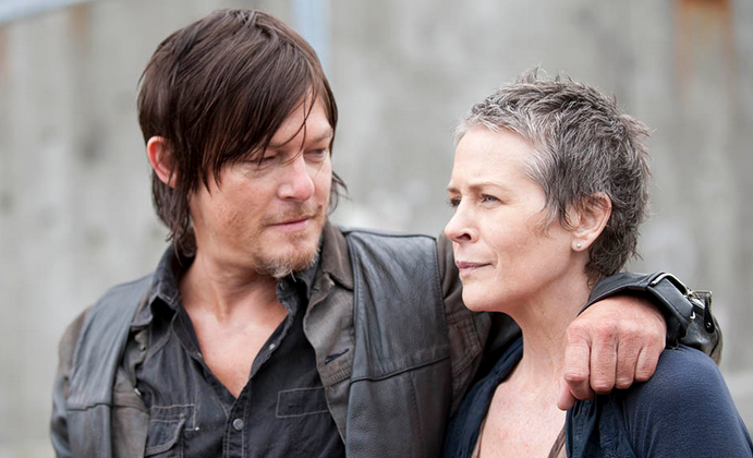 Daryl Dixon (Norman Reedus) and Carol Peletier (Melissa McBride) in episode 1 of season 4. Are they reunited in season 5? (Gene Page/AMC)