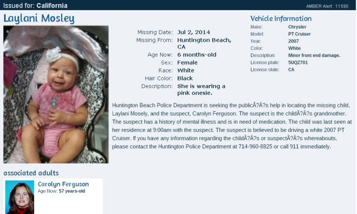 An Amber Alert was issued for a California girl, Laylani Mosley, who went missing on Wednesday evening. The suspect in the case is Carolyn Ferguson, the child's grandmother.
