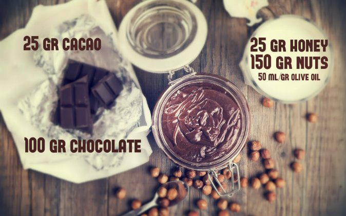 Ingredients you'll need to make your own yummy chocolate nut spread. The fabulous 5: chocolate, nuts, cacao, honey, oil. (Shutterstock*)