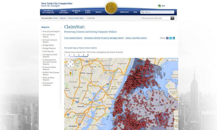 (Screenshot from comptroller.nyc.gov/reports/claimstat/)