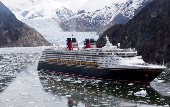 The Disney Wonder cruise ship sails past glaciers at the Tracy Arm Fjord in Alaska. (Diana Zalucky, Disney Cruise Line)