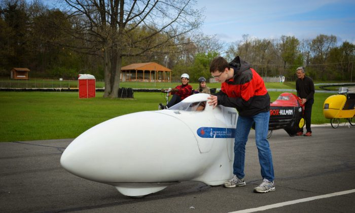 A Toronto team is hoping to break the current land speed record for a human-powered vehicle with the Eta, a recumbent bicycle encased in a slick bullet-shaped shell. (Courtesy of AeroVelo)