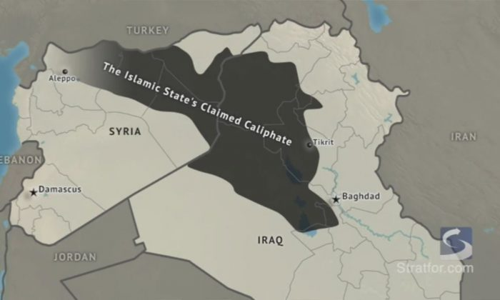 The Islamic State's Claimed Caliphate area in the Middle East. (Stratfor.com)