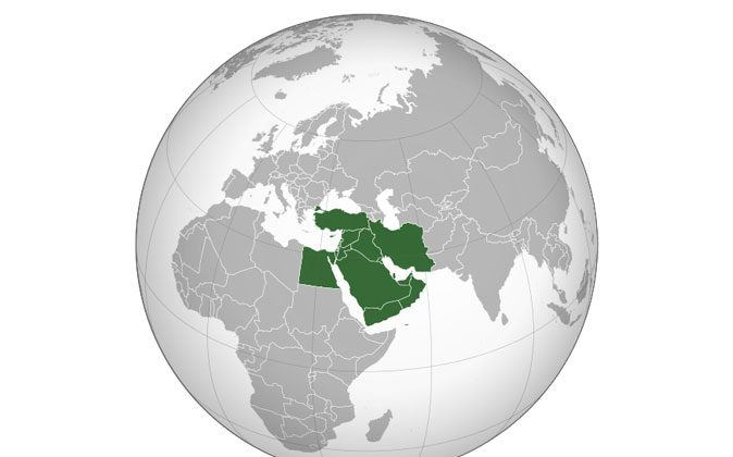 The Middle East in the World Map. (Wikimedia Commons)