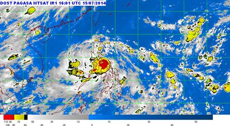 A satellite image of Typhoon Glenda as of 12:01 a.m. Philippines time on July 16, 2014. (MTSAT)