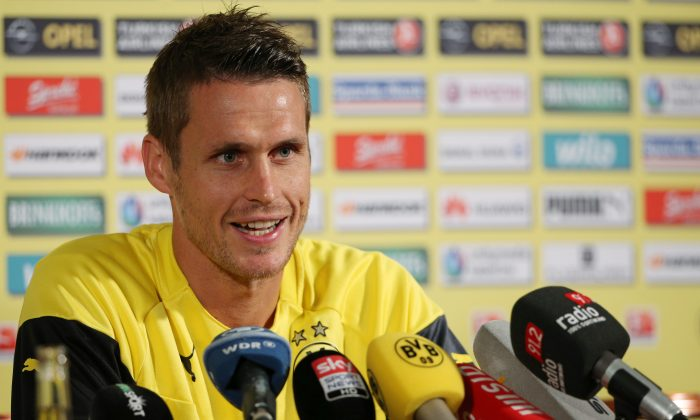 Sebastian Kehl attends a press conference during the Borussia Dortmund training camp on July 30, 2014 in Bad Ragaz, Switzerland. (Photo by Philipp Schmidli/Bongarts/Getty Images)