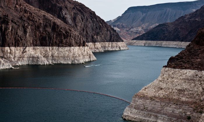 A recent photo of Lake Mead shows white rings caused by declining reservoir levels during the drought. (U.S. Bureau of Reclamation)