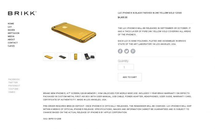 The gold iPhone 6 (http://www.brikk.com screenshot)